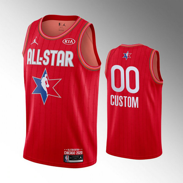 Maillots Homme Custom 0 nba All Star 2020 Rouge