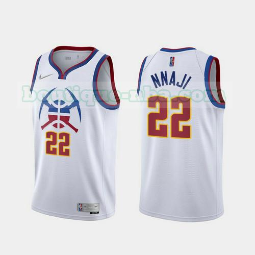 Maillots Homme Zeke Nnaji 22 2020-21 Earned Edition nba Denver Nuggets Blanc