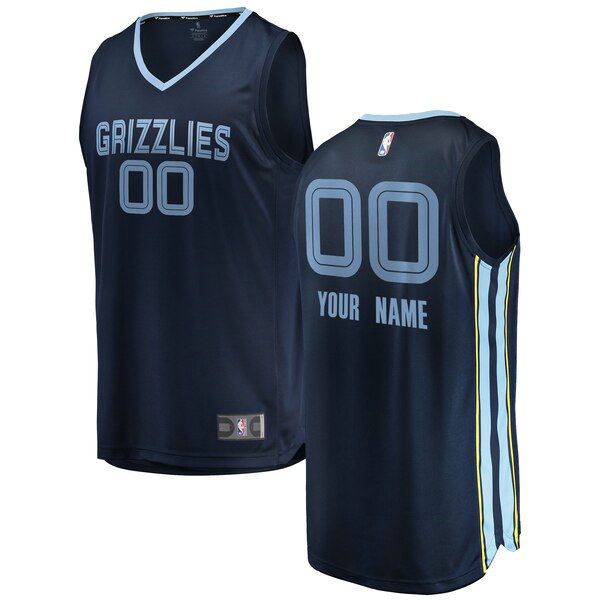 Maillots Homme Custom 0 2018-2019 Icon Edition nba Memphis Grizzlies Bleu marin