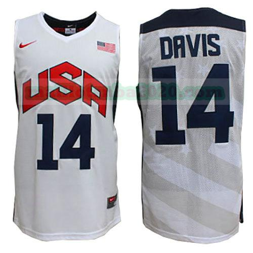 maillots Anthony Davis 14 nba usa 2012 blanc