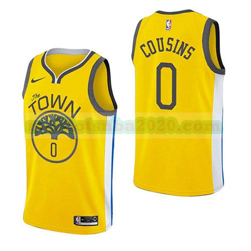 maillots Demarcus Cousins 0 earned 2018-19 nba golden state warriors jaune