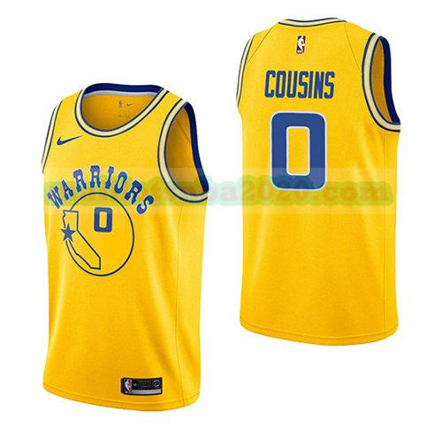 maillots Demarcus Cousins 0 hardwood classic 2018-19 nba golden state warriors jaune