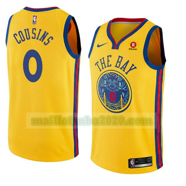 maillots Demarcus Cousins 0 ville 2018 nba golden state warriors jaune
