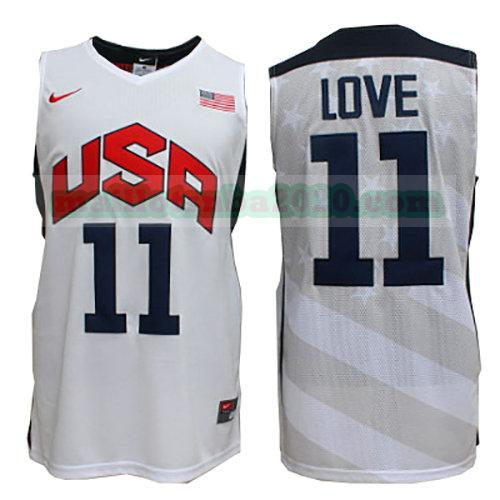 maillots Kevin Love 11 nba usa 2012 blanc