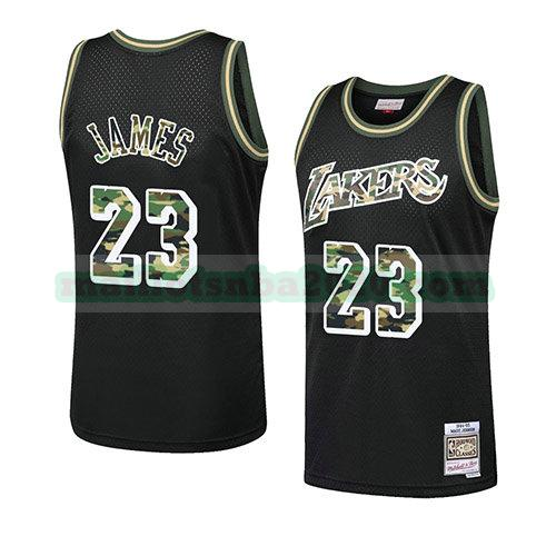 maillots Lebron James 23 camouflage nba los angeles lakers noir
