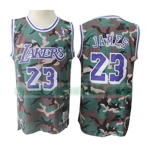 maillots Lebron James 23 camouflage nba los angeles lakers verde