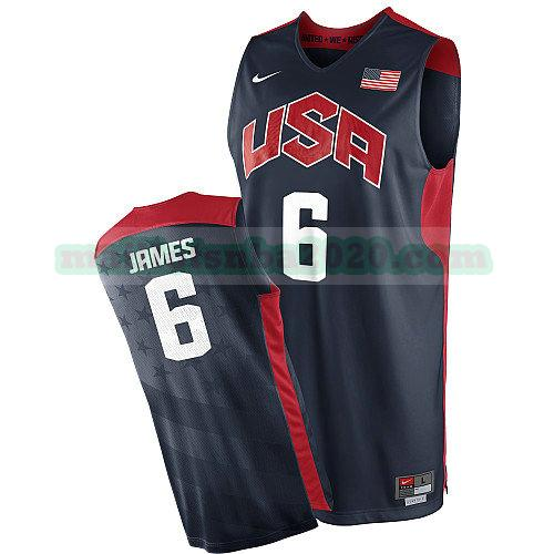 maillots Lebron James 6 nba usa 2012 noir