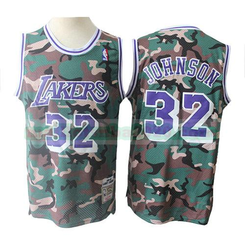 maillots Magic Johnson 32 camouflage nba los angeles lakers verde