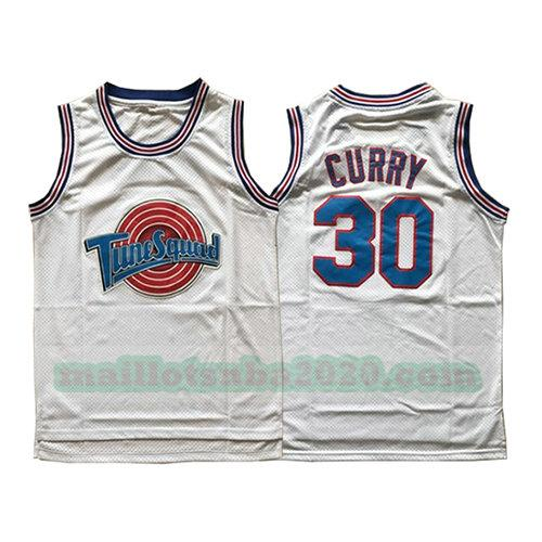 maillots Stephen Curry 30 nba tune squad blanc