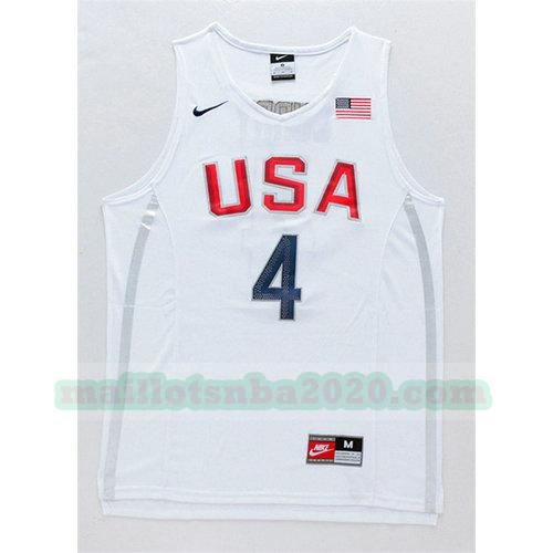 maillots Stephen Curry 4 nba usa 2016 blanc